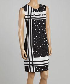 Look at this #zulilyfind! Black & White Polka Dot Sleeveless Dress #zulilyfinds