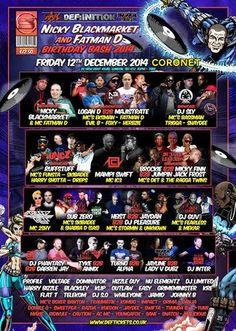 Nicky Blackmarket & Fatman D Birthday Bash 2014 at Coronet Theatre, 28 New Kent Road, London, SE1 6TJ, UK. On Dec 12,2014 To Dec 13,2014 at 10:00pm To 7:00am, Nicky Blackmarket Fatman D Mampi Swift & Ic3 Crissy Criss & 2shy Sub Zero & S.A.S (Skibadee & Shabba D) New Breed Showcase Feat Logan D Majistrate Eksman Evil B Foxy Herbzie Sdc Showcase Feat Dj Sly Bassman  URL: Tickets: http://atnd.it/17129-1 Category: Nightlife  Prices: Best Buy £12.50, Super Saver £15, Early Bird £18, Standard £22