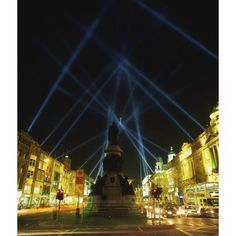 Spire Of Dublin Oconnell Street Dublin Ireland Eu Celebrations With Searchlights In Night Sky Canvas Art - The Irish Image Collection Design Pics (14 x 16)