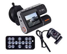 Car DVR HD DVR 120 Car Dash Cam Recorder 720P Dual Camera Cam Recorder LED Night Vision 2 Inch TFT LCD Remote Control