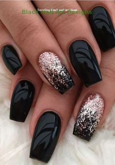 Black nails for winter; black nails with glitter; classy blac nails acrylic ombrenaildesigns Black nails for winter; black nails with glitter; Black Nails With Glitter, Matte Black Nails, Black Nail Art, Red Nails, Black Manicure, Gold Nail, Black Art, Gold Glitter, Beige Nail