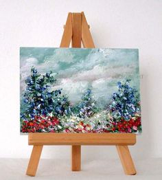 Blue Flowers in full bloom 3x4 inches original by valdasfineart