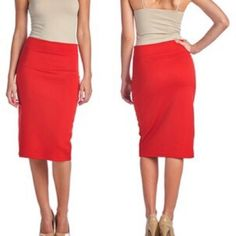 Red Pencil Skirt * Chic pencil skirt * Pairs easily with sweaters, blouses, and T-shirts * Ideal for work or a night on the town * Fitted silhouette * Stretchy fabric blend helps to create a more comfortable fit * 90% polyester, 10% spandex Skirts Pencil
