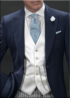 Blue men's wedding suit