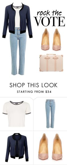 """""""Vote for your Future"""" by anjalisavlani ❤ liked on Polyvore featuring Topshop, Current/Elliott, LE3NO, Christian Louboutin, Globe-Trotter and rockthevote"""