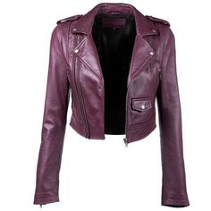 Crop Leather Jacket ($545) ❤ liked on Polyvore featuring outerwear, jackets, leather jacket, leather jackets, real leather jackets, cropped jacket, purple leather jackets and 100 leather jacket