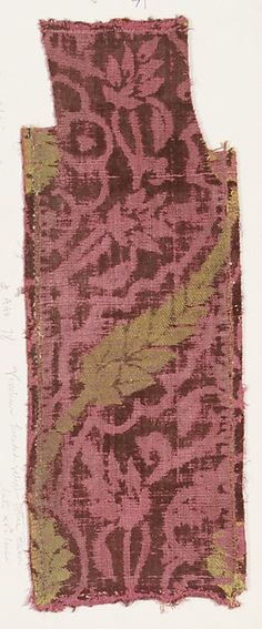 Fragment Date: late 15th century Culture: Italian, Venice Medium: Silk, metal thread Dimensions: Overall: 17 1/4 x 6 3/8 in. (43.8 x 16.2 cm) Classification: Textiles-Velvets