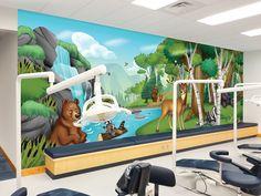 Kids Wall Murals, Custom Wall Murals, Murals For Kids, Woodland Critters, Treatment Rooms, Forest Landscape, Room Inspiration, Dental, Shoulder