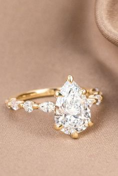 Pear Diamond Engagement Ring, Pear Shaped Engagement Rings, Diamond Wedding Bands, Wedding Rings, Wedding Jewelry, Most Popular Engagement Rings, Beautiful Engagement Rings, Engagement Ring Styles, Beautiful Diamond Rings