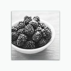 Ready-to-hang canvas gallery wrap of juicy blackberries, large rustic kitchen wall fruit print on canvas, sizes 6x6 to 30x30. Title: Summer Berries Canvas prints are professionally-stretched onto a 1.