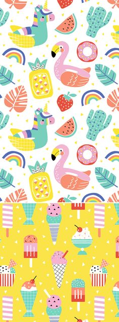 Fruit print fabric surface pattern ideas for 2019 Kids Patterns, Summer Patterns, Print Patterns, Cute Patterns Wallpaper, Background Patterns, Surface Pattern Design, Pattern Art, Textile Patterns, Textile Design