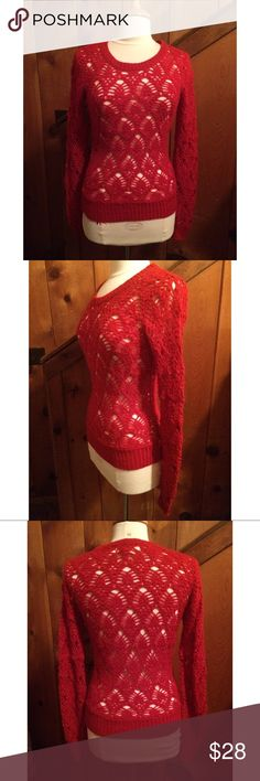 """Flying Tomato Open Weave Pattern Sweater Unique open weave red sweater that would be perfect for the holidays. Peekaboo style looks great with a Tank Top or bralette underneath. Hand wash.  Length: 25"""" Armpit to armpit: 17"""" Flying Tomato Sweaters Crew & Scoop Necks"""
