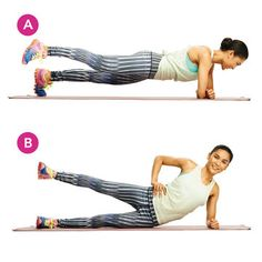 Leg Lift and Plant RollWorks core, outer thigh and buttLie on left side with forearm on floor and legs stacked. Lift right leg up (A), then lower. Roll into a plank with forearms parallel and touching, and swing right leg out to the side and off the ground (B). Return right foot to ground next to left foot, then roll back to starting position. Repeat leg lift and 1-legged plank 10 to 12 times, then switch sides.Tracy's Tip: Feel like you've mastered this one? Challenge yourself by keeping…
