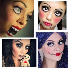 maquiagem_facil_halloween_dia_das_bruxas_boneca_lavanblog Disfarces Halloween, Halloween Face Makeup, Some Ideas, Diy Halloween Decorations, Pole Dancing, Body Painting, Holiday Parties, Carnival, Geek Stuff