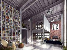 loft interior by Andrew Drawc. Floor to ceiling bookshelves! #bookshelf