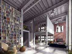 Nice loft space with awesome library wall.