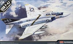 "Academy 1:48 F-4J Phantom ""VF-84 Jolly Rogers"" USN Aircraft Model Kit #Academy"