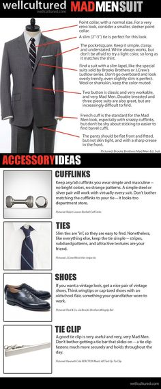 """An infographic on the """"Mad Men Suit."""" Classic = modern."""