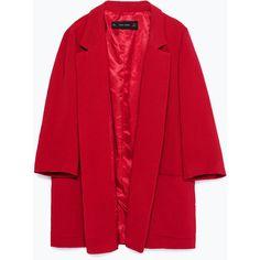 Zara Long Blazer ($100) ❤ liked on Polyvore featuring outerwear, jackets, blazers, long red blazer, zara jacket, longer length blazer, long blazer and red jacket