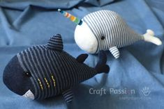 Sewing Animals Sock Shark and Sock Unicorn Whale, the twin sea creatures live together harmoniously and peacefully in the sea world. Animal Sewing Patterns, Sewing Patterns For Kids, Easy Sewing Projects, Sewing Crafts, Craft Tutorials, Sewing Stuffed Animals, Stuffed Animal Patterns, Shark Stuffed Animal, Sock Crafts