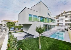 A house in France with criss cross stair and a slide
