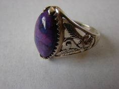 Kingman Purple Turquoise Ring Sterling Silver 925 Floral Scroll Marquise sz 11