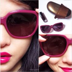 Sunday laziness. How to get out the door with a FOTD with nothing but fuchsia lips?  Accessorize, accessorize, accessorize. Magenta Gucci shades, vampy blood colored nails (Lancome Rouge Reglisse) and Shu Uemura Gamgnum Pink lipstick with gloss.
