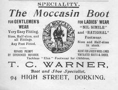 T.C Warner, Dorking. Moccasin Boot Advert 1913