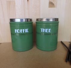 Vintage Dutch #Enamel #Coffee & Tea #Canisters / Tins in Olive Green Set of 2 Kof,  View more on the LINK: http://www.zeppy.io/product/gb/3/208549979/