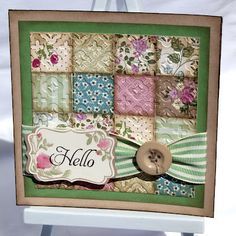 Crafting Becky: Vintage Patchwork Card     --- made w paper then embossed!