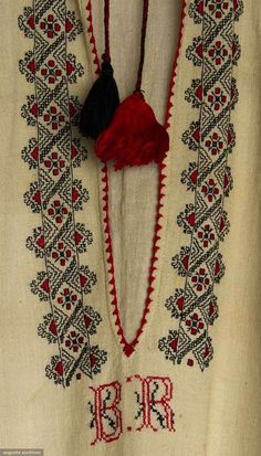 Search Past Sales Folk Embroidery, Embroidery Fashion, Machine Embroidery, Visible Mending, Cross Stitch Borders, Clothing And Textile, Folk Costume, Historical Clothing, Romania