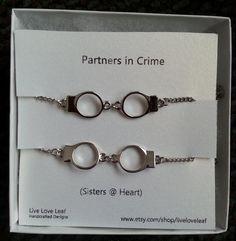 Partners in Crime Matching Silver Handcuffs Bracelets - Best friends bracelet, BFF love bracelet handchain Sisters jewelry  Live Love Leaf