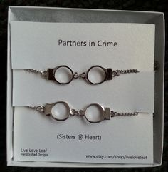 Partners in crime matching Sisters Bracelets - Silver Handcuffs Bracelet, handcuffs charm bracelet, love bracelet handchain BFF jewelry