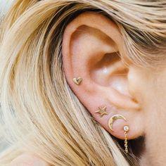 Cute Moon Star Heart Ear Stud Earrings Women's Tiny Jewelry Fashion Gift in Jewelry & Watches, Fashion Jewelry, Earrings Piercing Tragus, Piercing Face, Cute Ear Piercings, Triple Ear Piercing, Heart Piercing, Ear Piercings Auricle, Conch Piercing Jewelry, Three Ear Piercings, Inner Ear Piercing