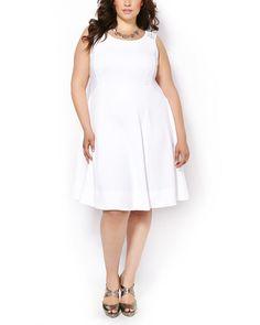 Sleeveless Dress with Eyelet Lace #penningtons #plussizefashion