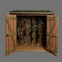 The Vertical bike shed is like a wardrobe for your bikes, ideal down the side of a garden. The bikes hang vertically on the back wall meaning they can be accessed individually. Being taller this unit is unsuitable for most front gardens. Bike Storage In Shed, Bicycle Storage Shed, Vertical Bike Storage, Outdoor Bike Storage, Bike Shed, Outside Bike Storage, Garage Velo, Front Gardens, Bike Store