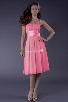 alluring pink spaghetti strap knee length a-line empire pleated chiffon wedding guest special occasion dress