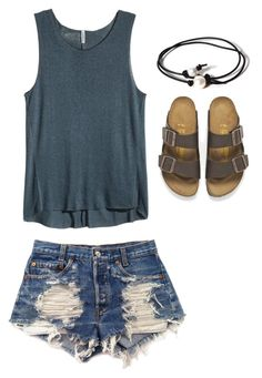 """""""Loving every thing on here😂😍"""" by southernbellprep on Polyvore featuring H&M, Levi's, Birkenstock and Joie"""