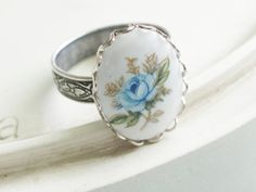 Silver Cameo Ring Blue Rose by linkeldesigns