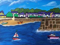 Acrylic Artwork, Acrylic Paintings, Original Paintings, Popular Holiday Destinations, Seaside Art, Visit Wales, Vibrant Colors, Colours, Canvas Board