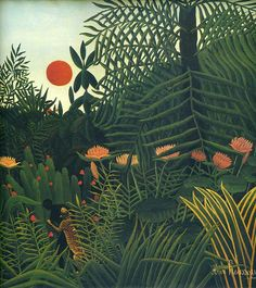 Henri Rousseau: Nègre attaqué par un jaguar, detail Deco Bobo, No Bad Days, Post Impressionism, Art Graphique, Naive Art, Art Design, Botanical Art, Oeuvre D'art, Art Inspo