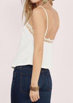 WEBNODE :: Lace Panel Solid White Camisole Top :: Fashionerly White Camisole Top, Tank Tops, Lace, Women, Fashion, Spring Fashion, Spring Summer, Chic, Moda