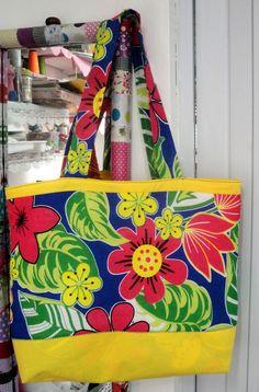 """Tania Forti - """"Xô depressão"""": Ecobag, ou sacola de praia, ou maxi-bolsa, ou bolsa para notebook de chita!!!- passo-a-passo"""