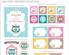 DIGITAL FILES Owl Party Decorations, Owl Party Decor, Owl Birthday, Woodland Birthday Owl Party Kit Woodland Birthday Package Printables