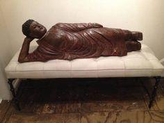 Antique Reclining Wooden Buddha