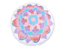 Round Beach Towel Aqua & Pink Lotus Print Wrap Poncho with Tassel Trim 336516