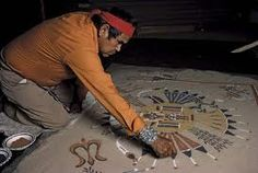 In the sandpainting of southwestern Native Americans, the Medicine Man paints loosely on the ground of a hogan, or on a buckskin or cloth tarpaulin, by letting the colored sands flow through his fingers with control & skill. There are 600-1000 traditional designs for sandpaintings which are known to the Navajo. They do not view the paintings as static objects, but as spiritual, living beings to be treated with great respect. More than 30 different sandpaintings may be associated with 1…