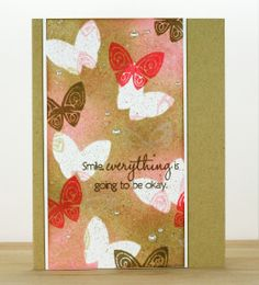 """handmade card from INKlinations ... kraft base ... wide panel with  """"printed paper"""" look of stamped butterfly collage ... luv the look!!"""