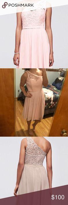 Bridesmaid dress Lace and mesh one shoulder dress, in the color petal. Never worn Davids Bridal Dresses Wedding