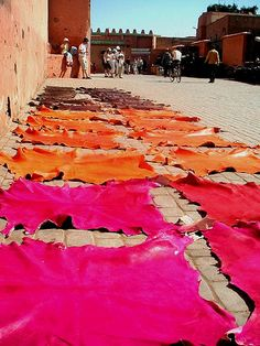 And then you bump into colorful leathers, put on a streetside for sunbathing! Morocco Travel, Africa Travel, Souk Marrakech, Mekka, Moroccan Interiors, The Old Days, Arabian Nights, Moroccan Style, North Africa